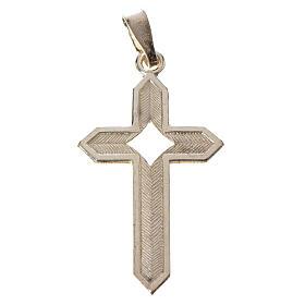 Pendant cross in 800 silver 2x3 cm, herringbone pattern s2