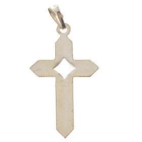 Pendant cross in 800 silver 2x3 cm, herringbone pattern s4