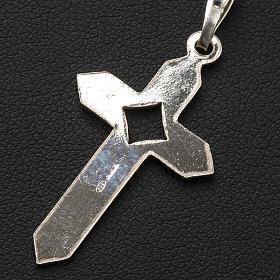 Pendant cross in 800 silver 2x3 cm, herringbone pattern s6