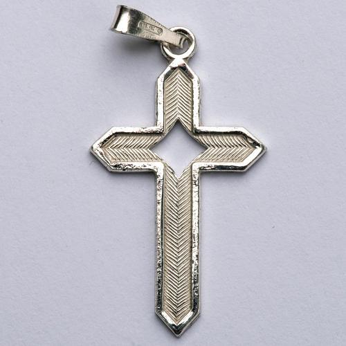 Pendant cross in 800 silver 2x3 cm, herringbone pattern 1