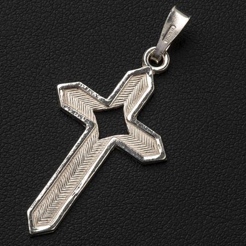 Pendant cross in 800 silver 2x3 cm, herringbone pattern 3