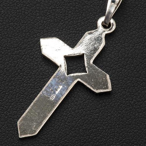 Pendant cross in 800 silver 2x3 cm, herringbone pattern 5