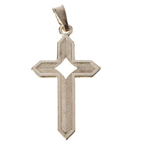 Pendant cross in 800 silver 2x3 cm, herringbone pattern 7