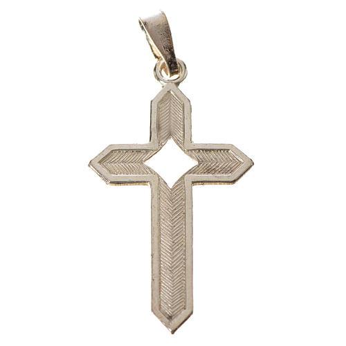 Pendant cross in 800 silver 2x3 cm, herringbone pattern 2