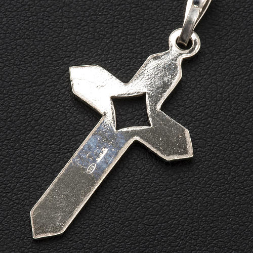 Pendant cross in 800 silver 2x3 cm, herringbone pattern 6