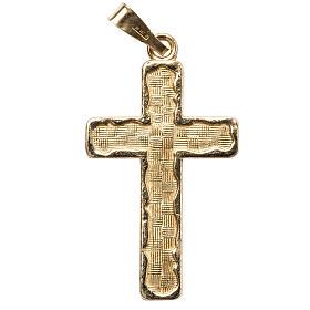 Pingentes, Cruzes, Broches, Correntes: Cruz dourada efeito entrelaçado prata 925