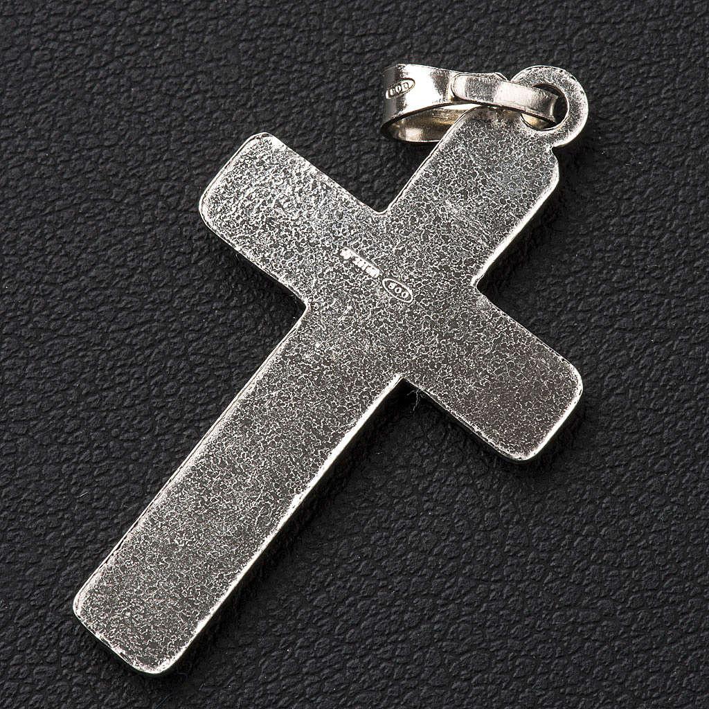 Croce effetto intreccio Argento 800 4