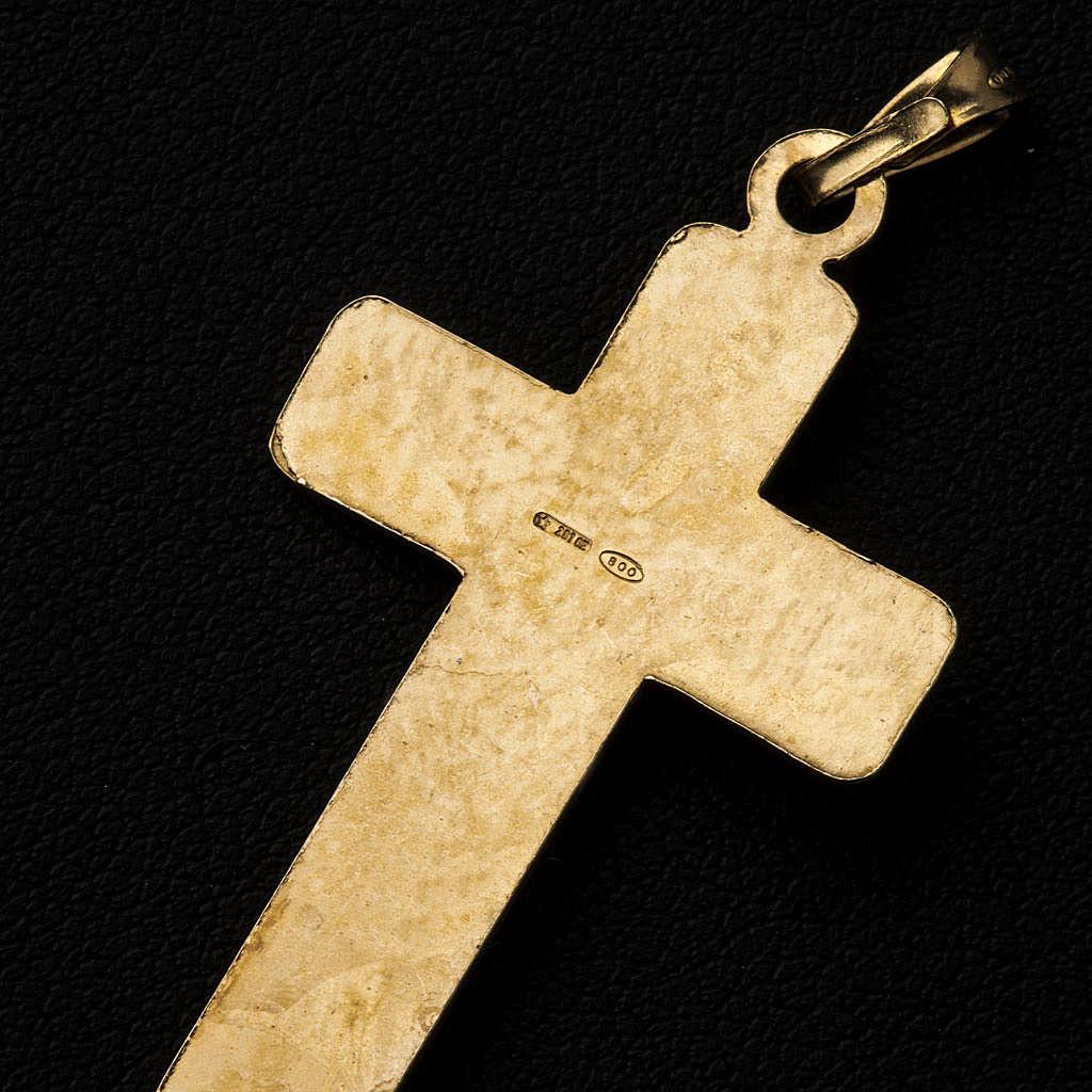 Croce Argento 800 quadrettata dorata 4