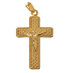 Croce Argento 800 quadrettata dorata s1