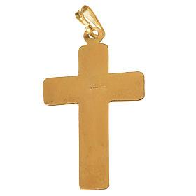 Croce Argento 800 quadrettata dorata s2