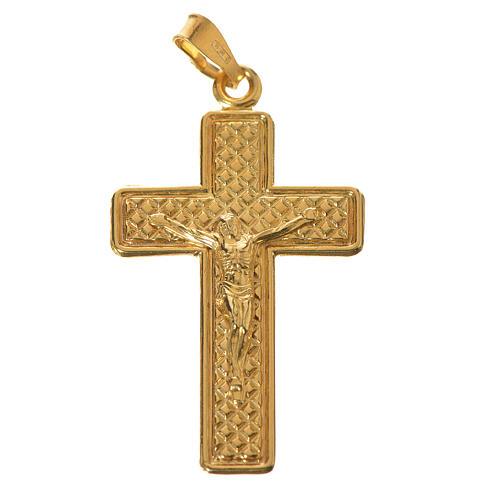 Croce Argento 800 quadrettata dorata 1