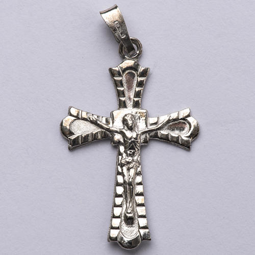 Pendant crucifix in 800 silver, Gothic style 1