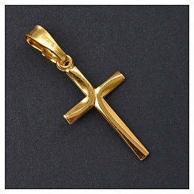 Croce dorata Arg. 925 con incrocio 2,5 x 1,5 s5