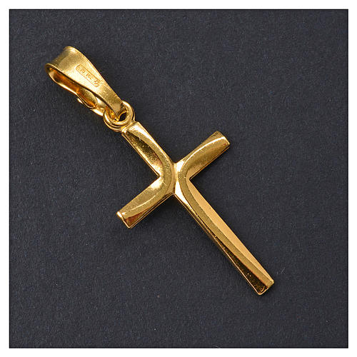 Croce dorata Arg. 925 con incrocio 2,5 x 1,5 2