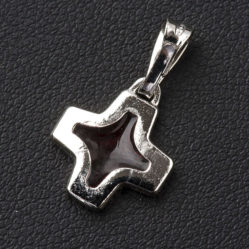 Pendant cross in 800 silver with red enamel 4