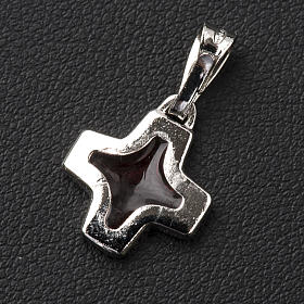 Pendant cross in 800 silver with red enamel s2