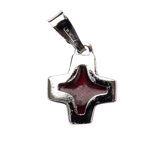 Pendant cross in 800 silver with red enamel 1