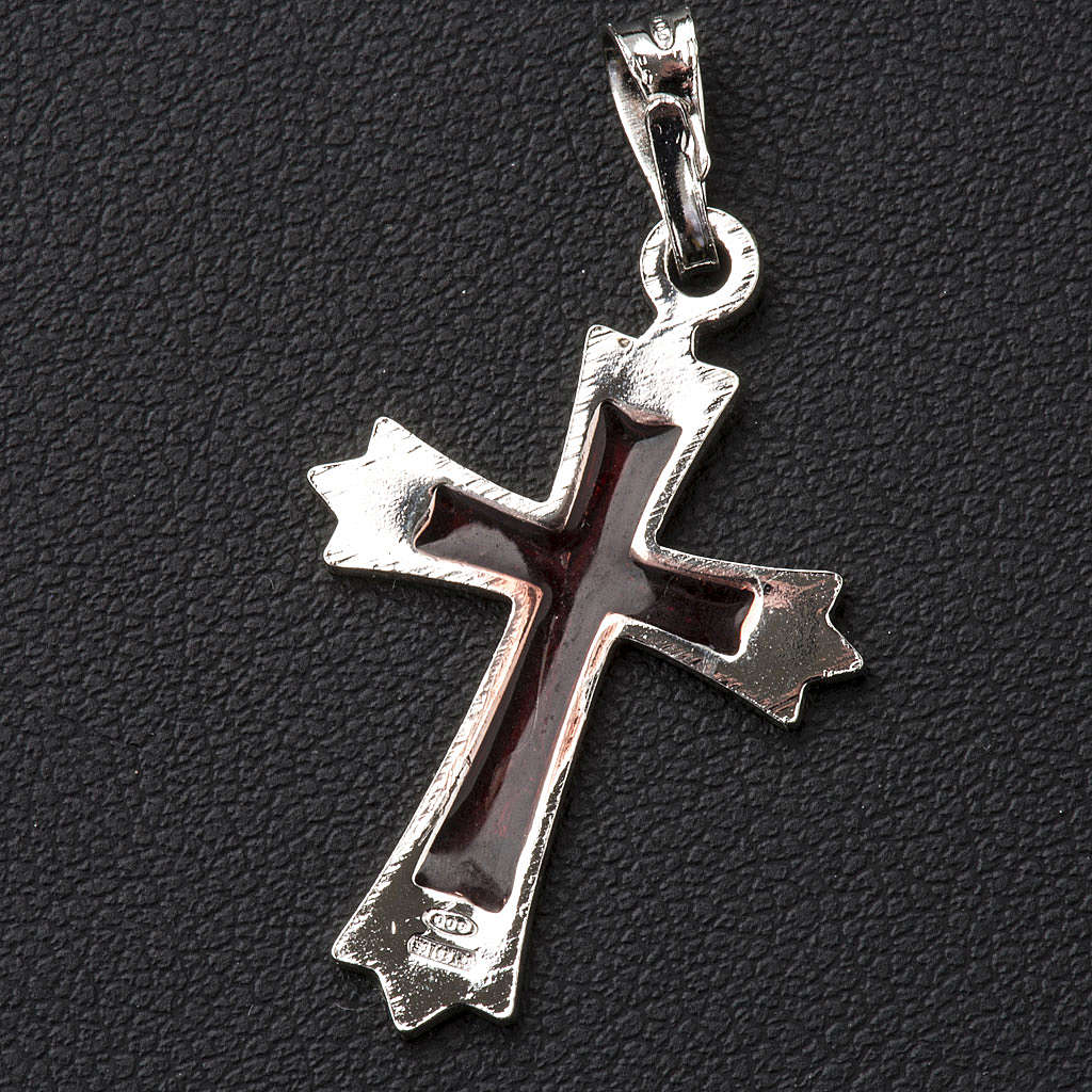 Pendente croce a punta con smalto rosso 4