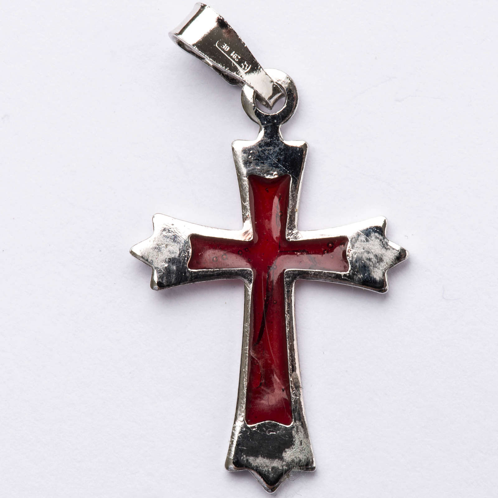 Pendant pointed cross in silver with red enamel 4
