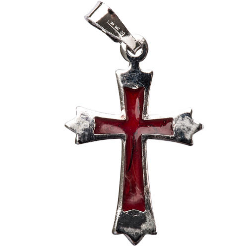 Pendant pointed cross in silver with red enamel 1