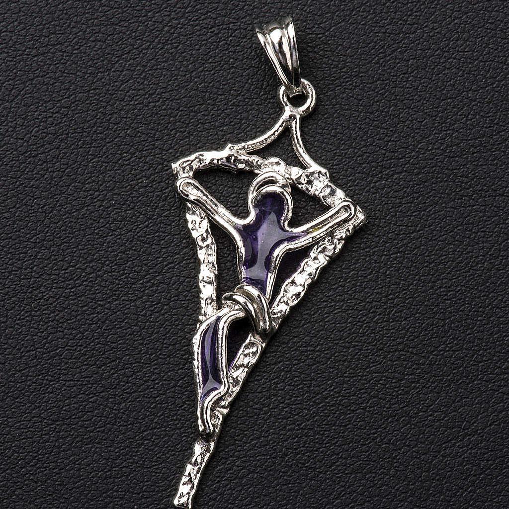 Croix argent 800 émail violet 4