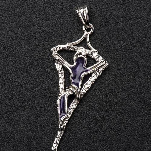 Croix argent 800 émail violet 2