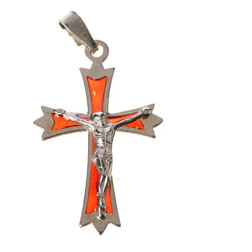 Croce Argento 800 e smalto rosso 3