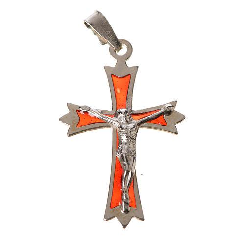 Croce Argento 800 e smalto rosso 1