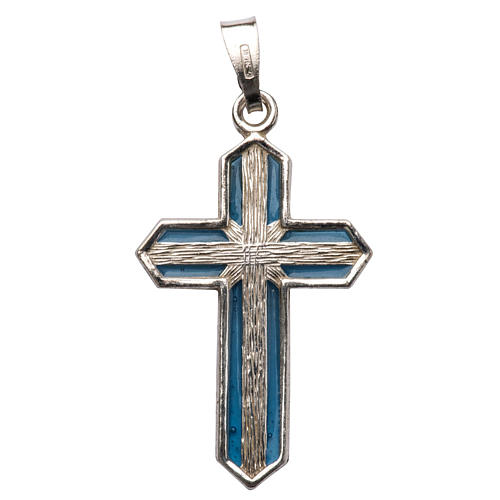 Pendant crucifix in silver and light blue enamel 1