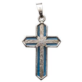 Croce pendente argento e smalto s1