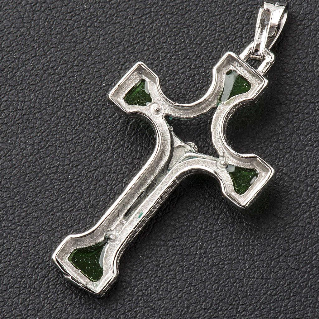 Ciondolo croce Argento e smalto verde 4