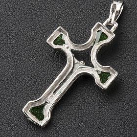 Ciondolo croce Argento e smalto verde s3