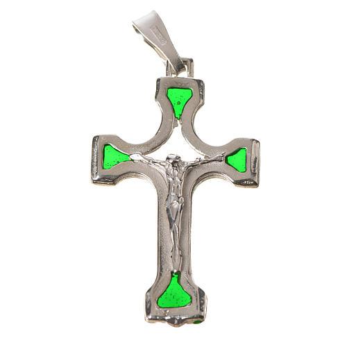 Ciondolo croce Argento e smalto verde 1