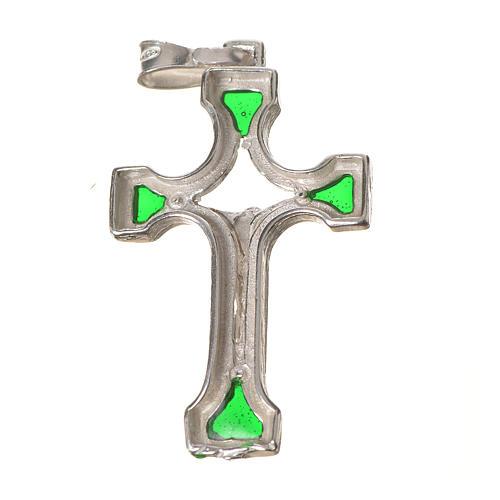 Ciondolo croce Argento e smalto verde 2