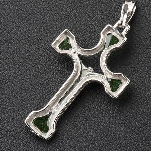 Ciondolo croce Argento e smalto verde 3
