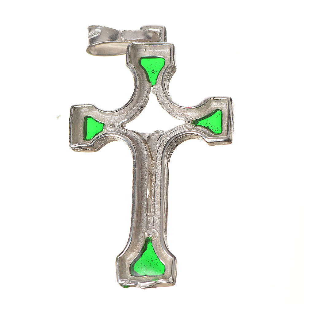 Pendant crucifix in silver and green enamel 4