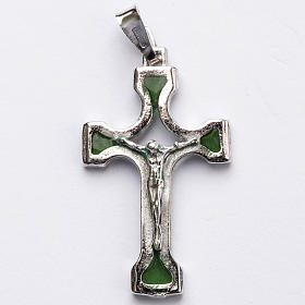 Pendant crucifix in silver and green enamel s1