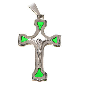Pendant crucifix in silver and green enamel s7