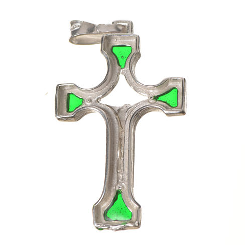 Pendant crucifix in silver and green enamel 8