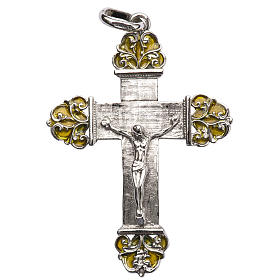 Pendant crucifix in silver and yellow enamel s1