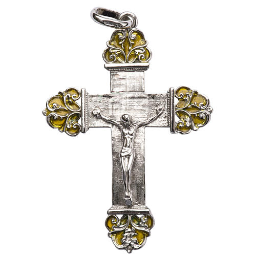 Pendant crucifix in silver and yellow enamel 1