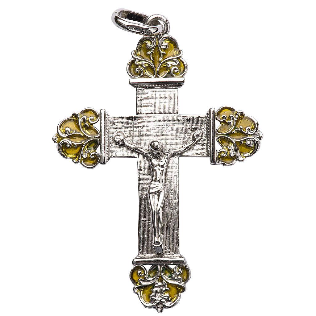 Cruz de plata con esmalte amarillo 4