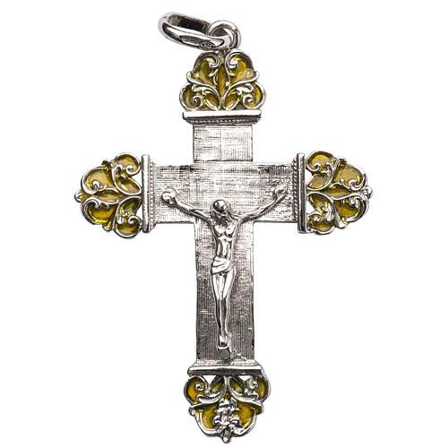 Krzyżyk srebro i emalia żółta 1
