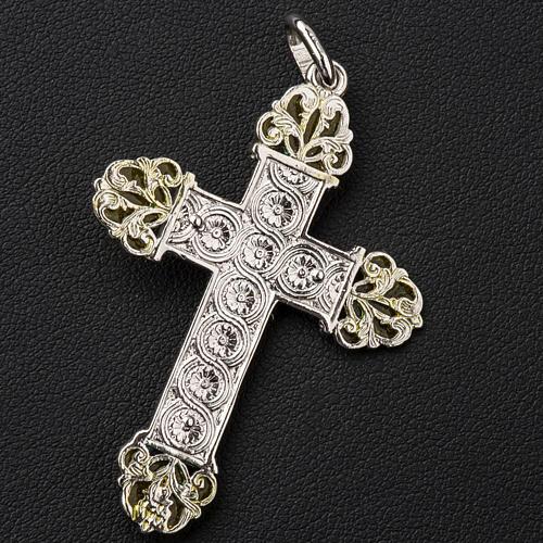 Krzyżyk srebro i emalia żółta 3