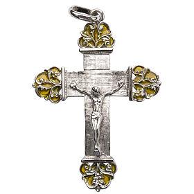 Pingentes, Cruzes, Broches, Correntes: Cruz em prata com esmalte amarelo