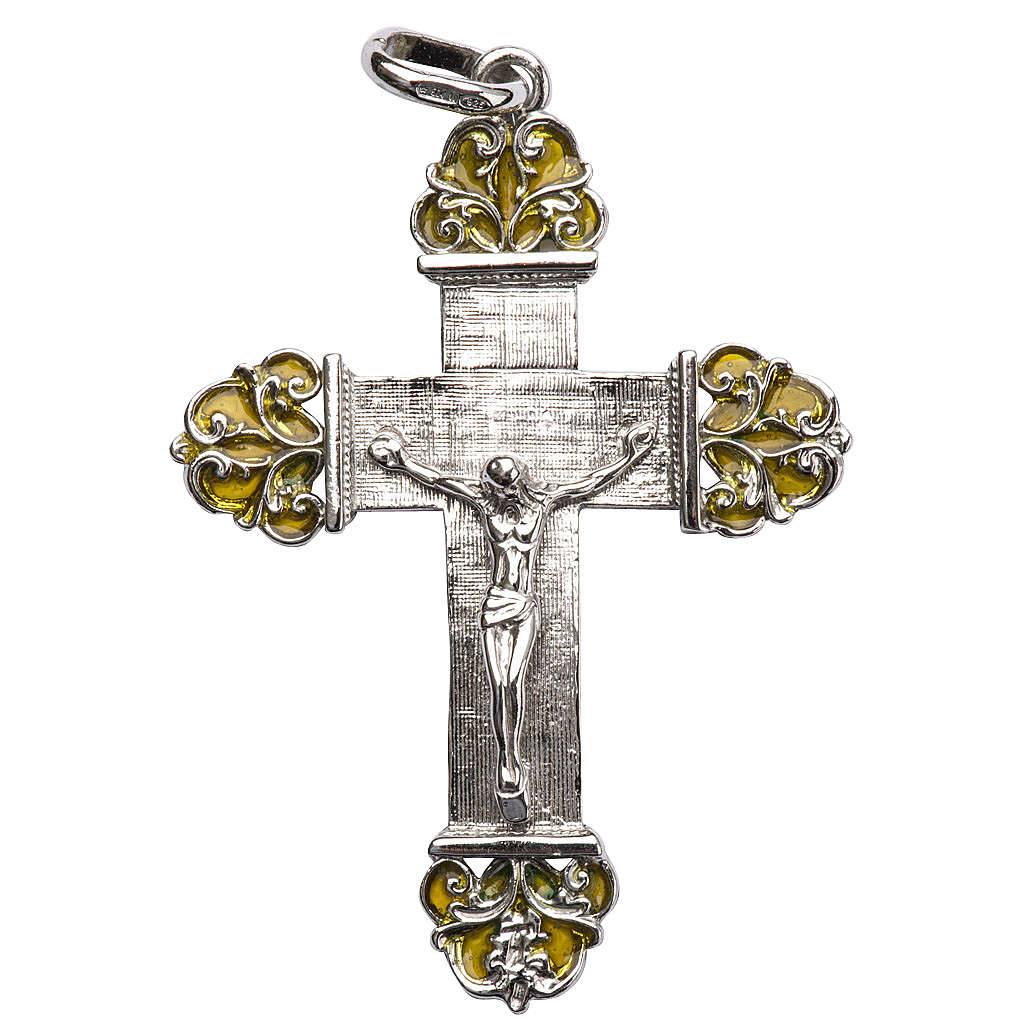 Pendant crucifix in silver and yellow enamel 4