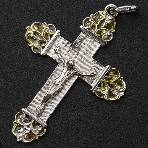 Pendant crucifix in silver and yellow enamel 2