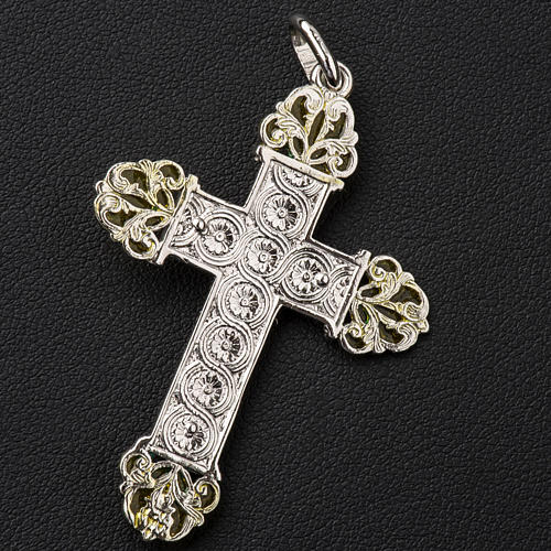 Pendant crucifix in silver and yellow enamel 3