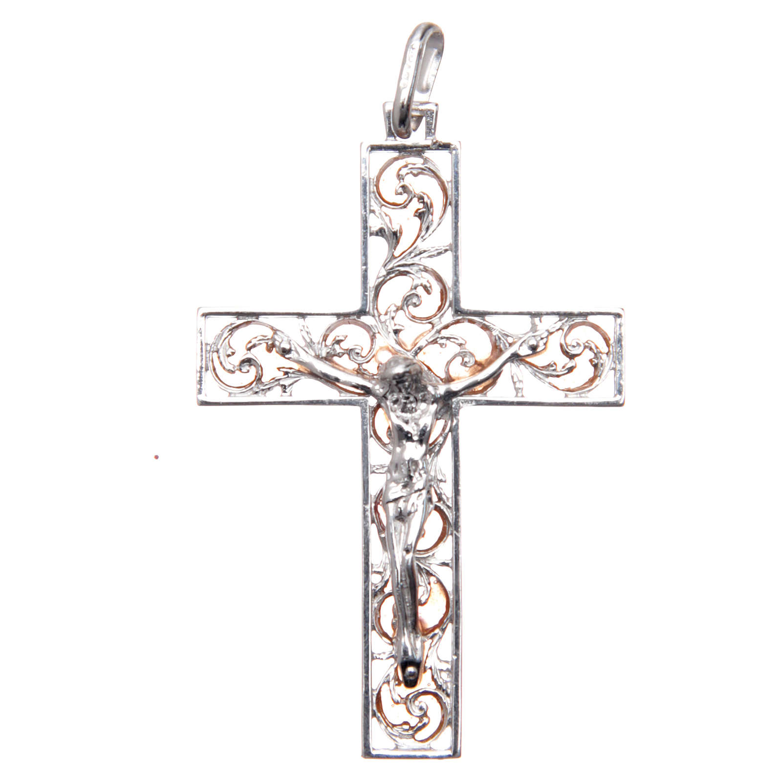 Croce pendente argento e smalto rosa 4