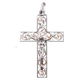 Croce pendente argento e smalto rosa s1